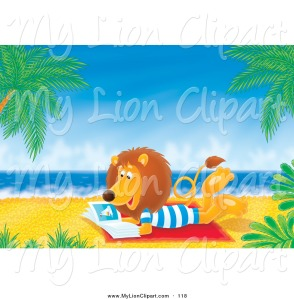 clipart-of-a-relaxing-lion-reading-a-book-on-a-tropical-beach-by-alex-bannykh-118